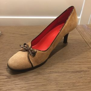 Coach Heels Mari Leather Tan and Red